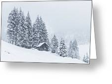 Huts And Winter Landscapes Greeting Card