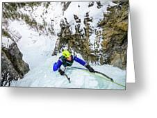 Ice Climbers On A Route Called Professor Falls Rated Wi4 In Banf Greeting Card