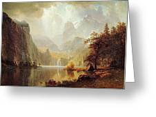 In The Mountains Albert Bierstadt Greeting Card