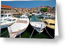 Island Of Prvic Harbor And Waterfront View In Sepurine Village Greeting Card