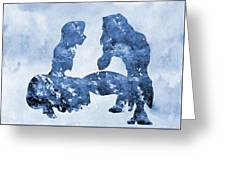 Jane And Tarzan-blue Greeting Card