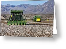 John Deere Cotton Pickers Harvesting Greeting Card