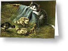 Kitten Peeking In On Chicks Greeting Card