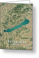 Lake Balaton 3d Render Satellite View Topographic Map Greeting Card