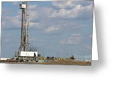 Land Oil Drilling Rig On Oilfield Greeting Card