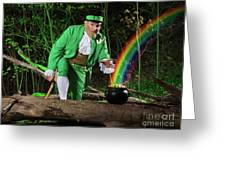 Leprechaun With Pot Of Gold Greeting Card