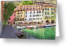 Limone Sul Garda Turquoise Harbor Panoramic View Greeting Card