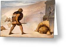 Lion In The Arena Greeting Card