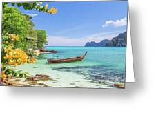 Long-tail Boats, The Andaman Sea And Hills In Ko Phi Phi Don, Th Greeting Card