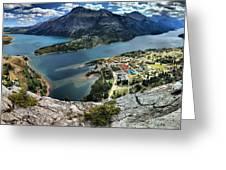Looking Down On Waterton Lakes Greeting Card