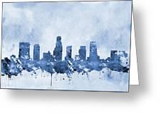 Los Angeles Skyline-blue Greeting Card