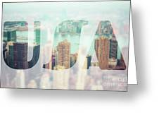 Manhattan Skyline At Sunset, New York City  Greeting Card