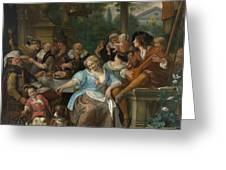 Merry Company On A Terrace Greeting Card