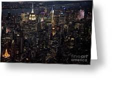 Midtown West Manhattan Skyline Aerial At Night Greeting Card