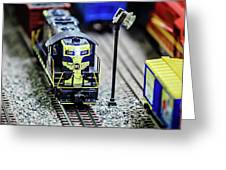 Miniature Toy Model Train Locomotives On Display Greeting Card