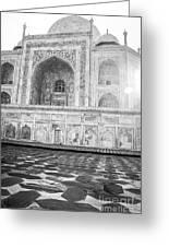 Monochrome Taj Mahal - Sunrise Greeting Card