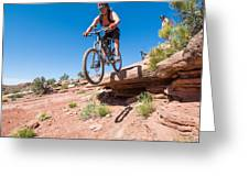 Mountain Biking The Porcupine Rim Trail Near Moab Greeting Card