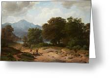 Mountainous Landscape With Shepherds Greeting Card