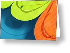 Multicolored Flip Flops Floating In Pool Greeting Card