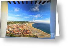 Nazare Portugal Skyline Greeting Card