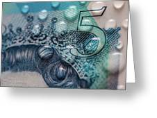 New Uk Five Pound Note Greeting Card