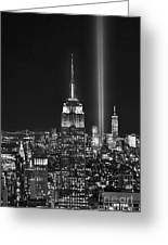 New York City Tribute In Lights Empire State Building Manhattan At Night Nyc Greeting Card