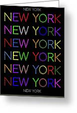 New York - Multicoloured On Black Background Greeting Card