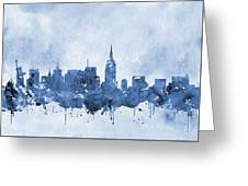 New York Skyline-blue Greeting Card