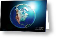 North America 3d Render Planet Earth Dark Space Greeting Card