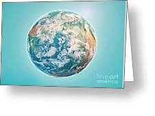 North Pole 3d Render Planet Earth Clouds Greeting Card