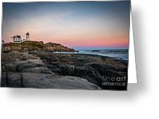 Ocean Lighthouse At Sunset Greeting Card