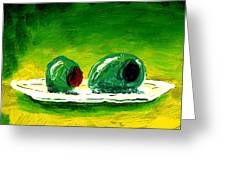 2 Olives On A White Plate Greeting Card