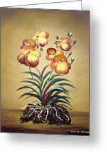 Orange Orchid Flowers Greeting Card