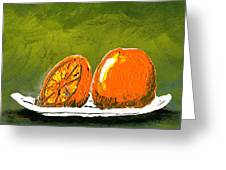 2 Oranges On A White Plate Greeting Card