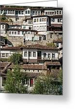 Ottoman Architecture View In Historic Berat Old Town Albania Greeting Card