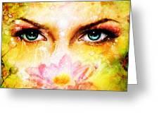 Pair Of Beautiful Blue Women Eyes Beaming Up Enchanting From Behind A Blooming Rose Lotus Flower Greeting Card