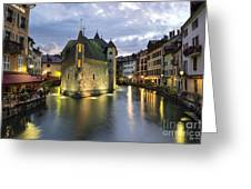 Palais De L'isle And Thiou River In Annecy Greeting Card