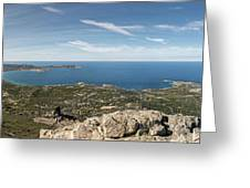 Panoramic View Across Calvi Bay And Revellata In Corsica Greeting Card