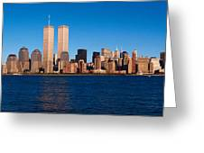 Panoramic View Of Lower Manhattan Greeting Card