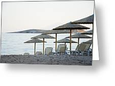 Parasol And Sunbeds At Sunset Greeting Card
