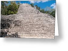 People Climbing Nohoch Mul At The Coba Ruins  Greeting Card