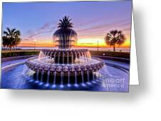 Pineapple Fountain Charleston Sc Sunrise Greeting Card by Dustin K Ryan