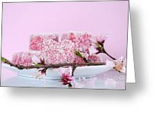 Pink Heart Shape Small Lamington Cakes Greeting Card