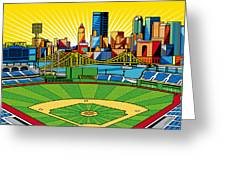 Pnc Park Gold Sky Greeting Card