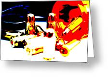 Pop Art Of .45 Cal Bullets Comming Out Of Pill Bottle Greeting Card