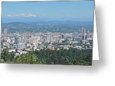 Portland Skyline With Mount Hood Greeting Card