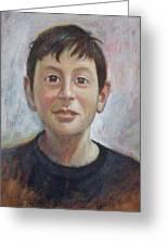 Portrait Of A Boy Greeting Card by George Siaba