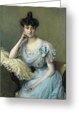 Portrait Of A Young Woman In A Blue Dress Greeting Card