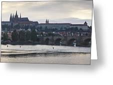 Prague Castle And Charles Bridge Greeting Card