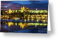 Prague Skyline At Sunset Greeting Card